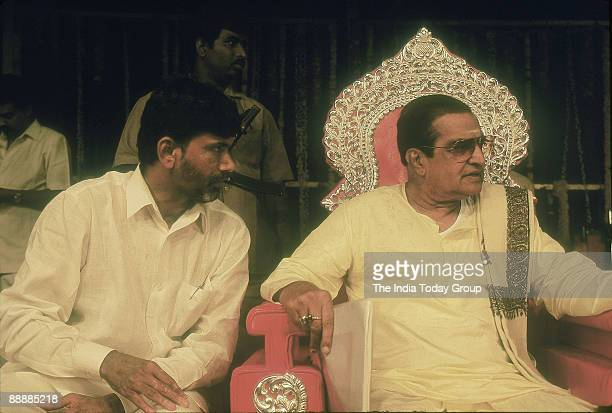 Rama Rao President of the party and Chief Minister with Nara Chandrababu Naidu