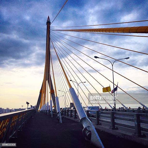 Rama Viii Bridge Against Cloudy Sky