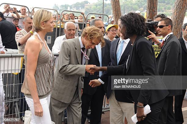 Rama Yade and Andrea Casiraghi in Monte Carlo Monaco on July 04th 2009
