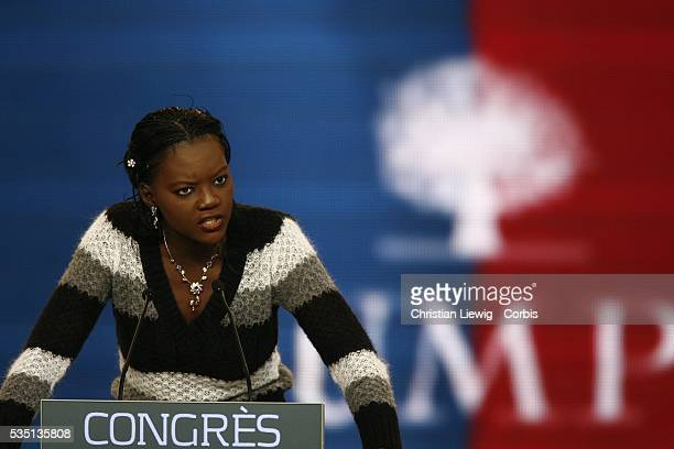 Rama Yade National Secratary for French Speakers addresses delegates during the UMP congress