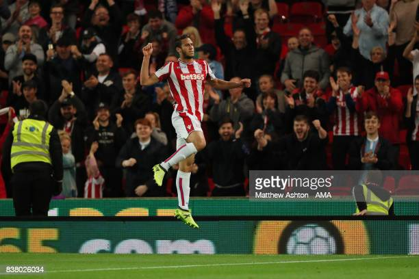 Ramadan Sobhi of Stoke City celebrates after scoring a goal to make it 40 during the Carabao Cup Second Round match between Stoke City and Rochdale...