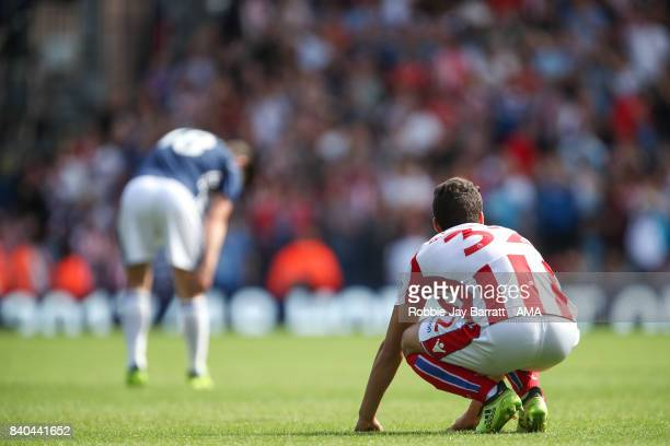 Ramadan Sobhi of Stoke City dejected at full time during the Premier League match between West Bromwich Albion and Stoke City at The Hawthorns on...