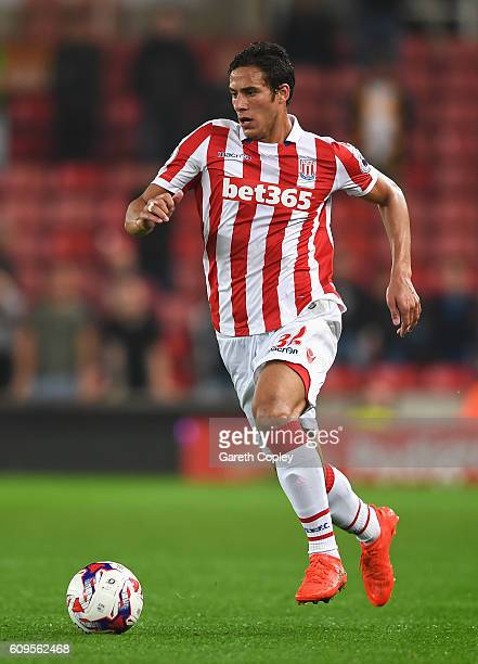 Ramadan Sobhi of Stoke City in action during the EFL Cup Third Round match between Stoke City and Hull City at the Bet365 Stadium on September 21...
