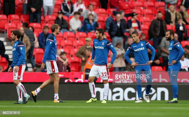 Ramadan Sobhi of Stoke City warms up prior to the Premier League match between Stoke City and Chelsea at Bet365 Stadium on September 23 2017 in Stoke...