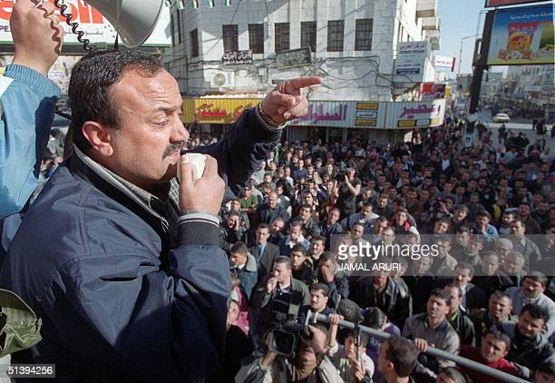 Marwan Bargouti the head of the Palestinian leader Yasser Arafat's political and military faction Fatah in the West Bank gives a speech during a...