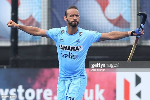 Ramandeep Singh of India celebrates scoring his teams second goal during the quarter final match between India and Malaysia on day seven of the Hero...