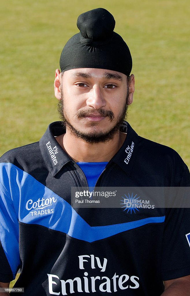 Ramanpreet Singh of Durham CCC wears the FriendsLife T20 kit during a pre-season photocall at The Riverside on April 3, 2013 in Chester-le-Street, England.