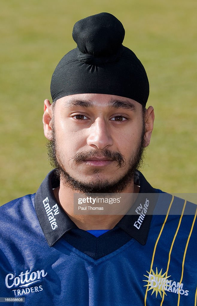 Ramanpreet Singh of Durham CCC wears the Yorkshire Bank 40 kit during a pre-season photocall at The Riverside on April 3, 2013 in Chester-le-Street, England.