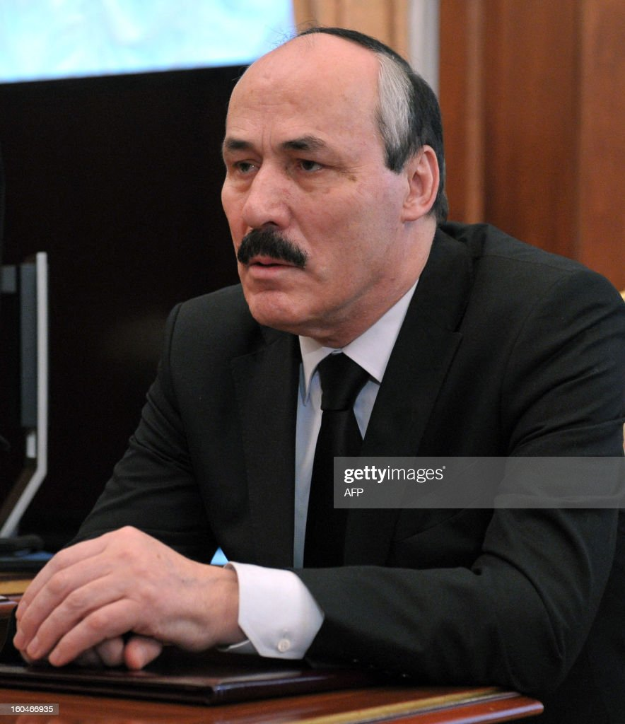 Ramazan Abdulatipov, the new leader of Russian North Caucasus region of Dagestan, attends a meeting with Russia's President Vladimir Putin in the Kremlin in Moscow, on February 1, 2013. Putin relieved this week Dagestani leader Magomedsalam Magomedov of his post and appointed ruling party lawmaker Ramazan Abdulatipov acting head of the region on the shores of the Caspian Sea, the Kremlin said in a statement.