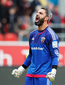 Ramazan Ozcan of Ingolstadt 04 celebrates after victory in the Bundesliga match between FC Ingolstadt and Borussia Moenchengladbach at Audi Sportpark...
