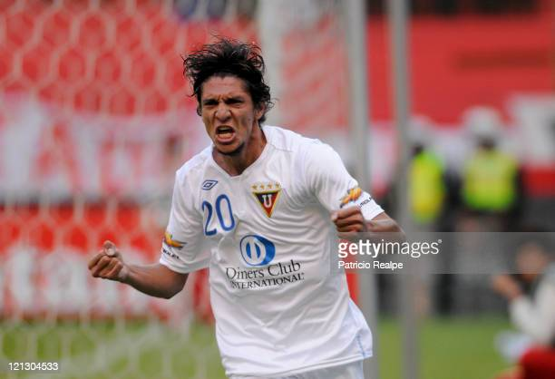 Rambert Vera of Liga Deportiva Universitaria celebrate scored goal during a match against Yaracuyanos as part of Bridgeston Sudamericana Cup 2011 at...