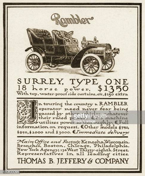 A Rambler automobile is shown in a magazine advertisement from 1905 The price listed for the Surrey Type One 18horsepower model is $1350 The Rambler...