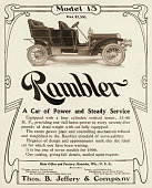 A Rambler Model 15 automobile is shown in a magazine advertisement dated 1906 The ad states that the car is equipped with a 4cylinder engine and...