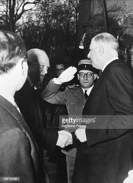 Rambouillet Castle General Charles De Gaulle Greeting Us President Eisenhower On Arrival In 1959