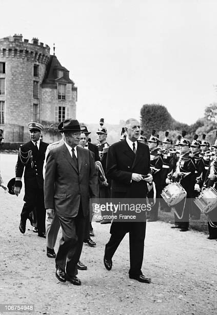 Rambouillet Castle Us President Eisenhower And General Charles De Gaulle In September 1959