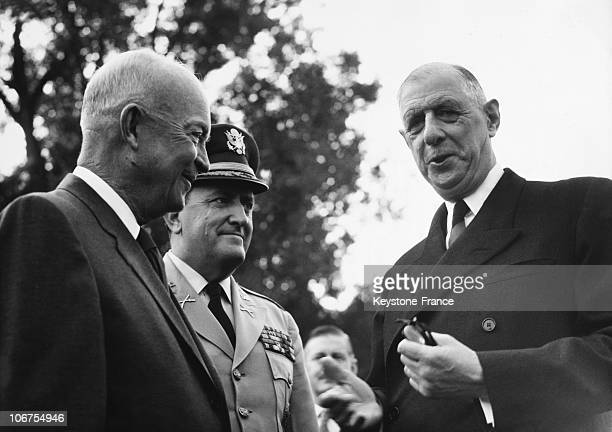 Rambouillet Castle Us President Eisenhower Colonel Walters And General Charles De Gaulle In September 1959