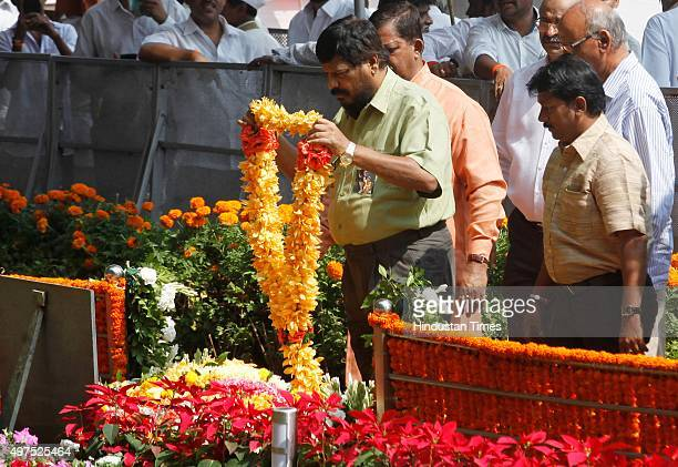 Ramdas Athawale paying tribute to Shiv Sena chief Bal Thackeray on his third death anniversary at Shivaji Park on November 17 2015 in Mumbai India...