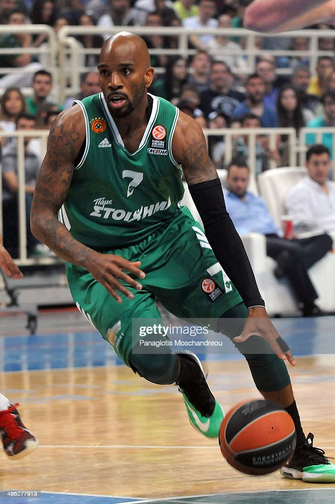 <a gi-track='captionPersonalityLinkClicked' href=/galleries/search?phrase=Ramel+Curry&family=editorial&specificpeople=235345 ng-click='$event.stopPropagation()'>Ramel Curry</a>, #7 of Panathinaikos Athens in action during the Turkish Airlines Euroleague Basketball Play Off Game 4 between Panathinaikos Athens v CSKA Moscow at Olimpic Sports Center on April 23, 2014 in Athens, Greece.