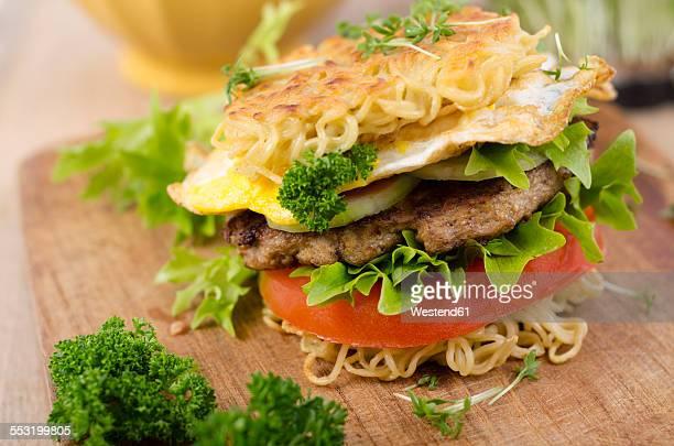 Ramen burger on a wooden board