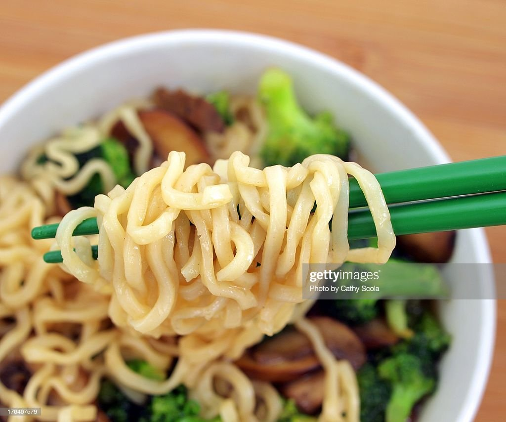 Ramen Noodles on Chopsticks : Stock Photo