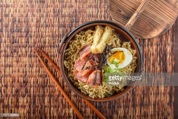 Ramen with Bacon and Boiled Egg, Shredded Seaweed