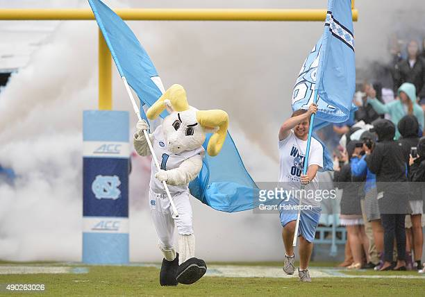 Rameses mascot of the North Carolina Tar Heels during their game against the Delaware Fightin Blue Hens at Kenan Stadium on September 26 2015 in...