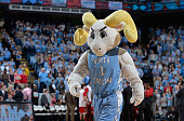 Rameses mascot of the North Carolina Tar Heels performs during their game against the North Carolina State Wolfpack at the Dean Smith Center on...
