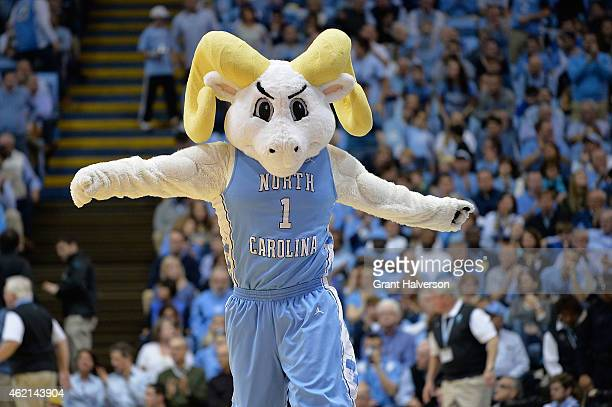 Rameses the North Carolina Tar Heels mascot performs during their game against the Florida State Seminoles at the Dean Smith Center on January 24...