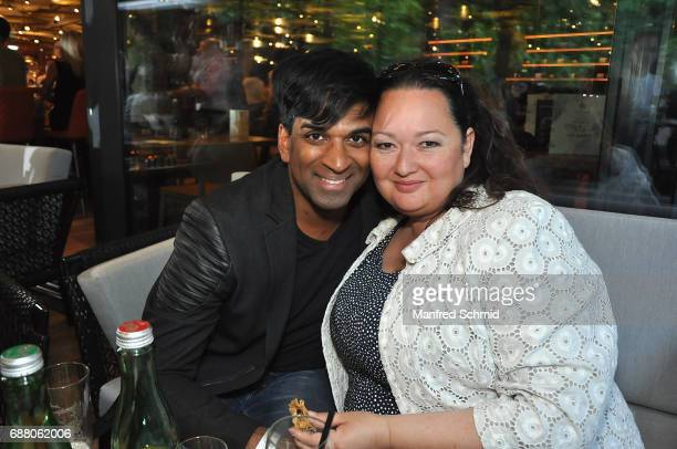 Ramesh Nair and Tini Kainrath pose during the 'Die Allee zum Genuss' restaurant opening party on May 24 2017 in Vienna Austria