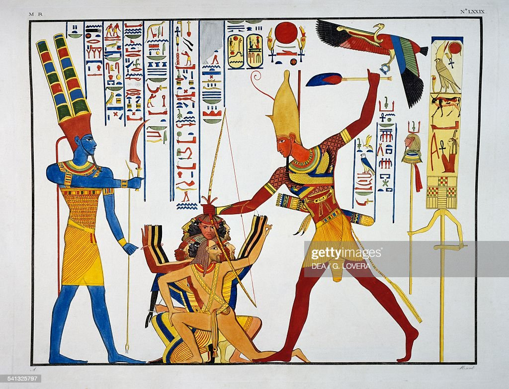 Ramesses II about to sacrifice prisoners to the god Amon-Ra, from the temple of Abu Simbel, Plate LXXIX, from The monuments of Egypt and Nubia: historical monuments, 1832-1844, by Ippolito Rosellini (1800-1843).
