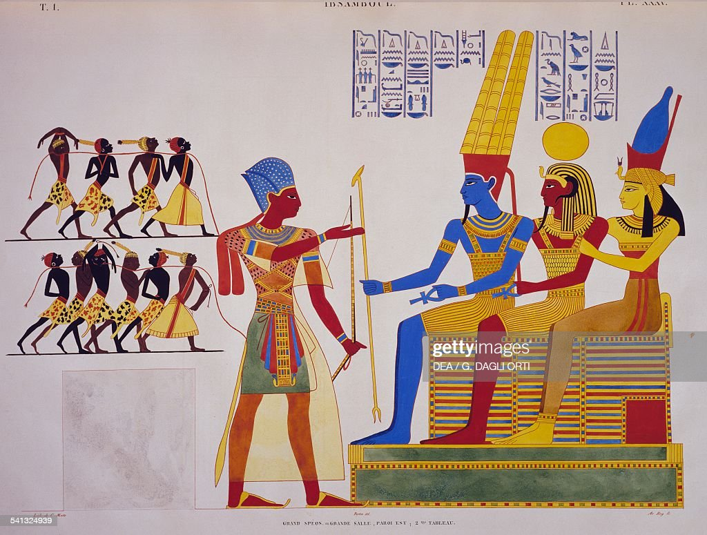 Ramesses II before the Triad, fresco from the east wall of the great hall of Abu Simbel, from Monuments of Egypt and Nubia, 1835, by Jean-Francois Champollion (1790-1832).
