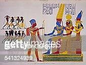 Ramesses II before the Triad fresco from the east wall of the great hall of Abu Simbel from Monuments of Egypt and Nubia by JeanFrancois Champollion