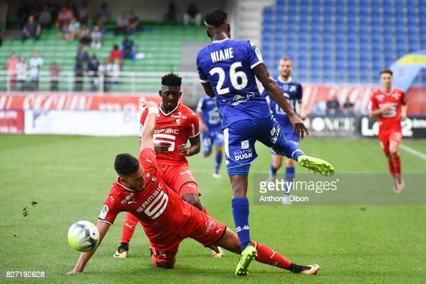 Rami Bensebaini of Rennes and Adama Niane of Troyes during the Ligue 1 match between Troyes AC and Stade Rennais at Stade de l'Aube on August 5 2017...