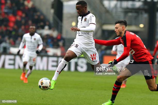 Rami Bensebaini of Rennes and Wylan Cyprien of Nice during the Ligue 1 match between Stade Rennais and OGC Nice at Roazhon Park on February 12 2017...