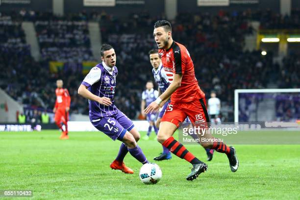 Rami Bensebaini of Rennes during the French League match between Toulouse and Rennes at Stadium Municipal on March 18 2017 in Toulouse France