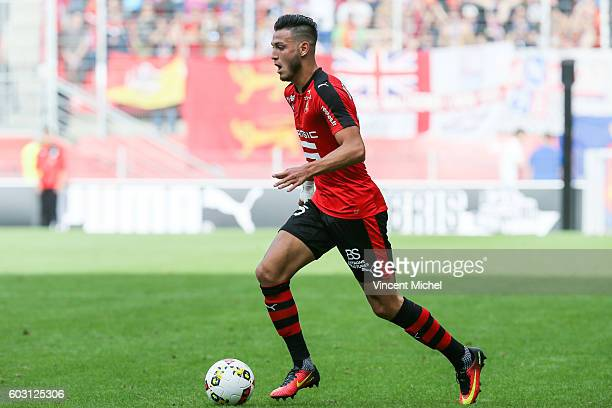 Rami Bensebaini of Rennes during the french Ligue 1 match between Stade Rennais and SM Caen at Stade de la Route de Lorient on September 11 2016 in...