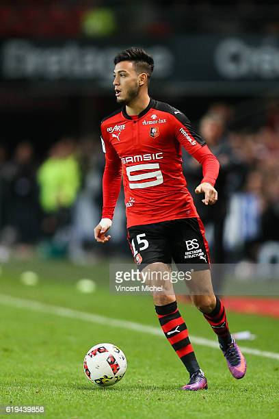 Rami Bensebaini of Rennes during the French Ligue 1 match between Rennes and Metz at Stade de la Route de Lorient on October 30 2016 in Rennes France