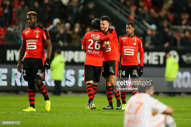 Rami Bensebaini of Rennes during the French Ligue 1 match between Rennes and Lorient at Roazhon Park on February 25 2017 in Rennes France