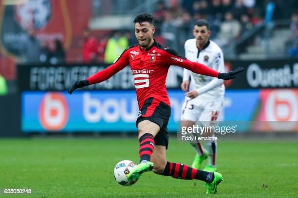 Rami Bensebaini of Rennes during the Ligue 1 match between Stade Rennais and OGC Nice at Roazhon Park on February 12 2017 in Rennes France