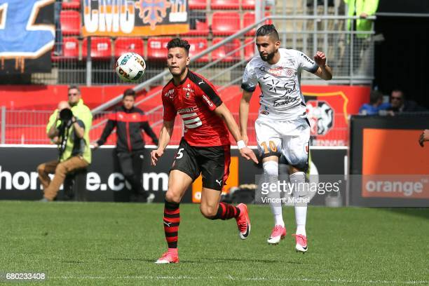 Rami Bensebaini of Rennes during the Ligue 1 match between Stade Rennais and Montpellier Herault at Roazhon Park on May 7 2017 in Rennes France