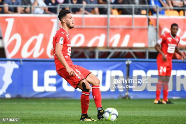 Rami Bensebaini of Rennes during the Ligue 1 match between Troyes AC and Stade Rennais at Stade de l'Aube on August 5 2017 in Troyes