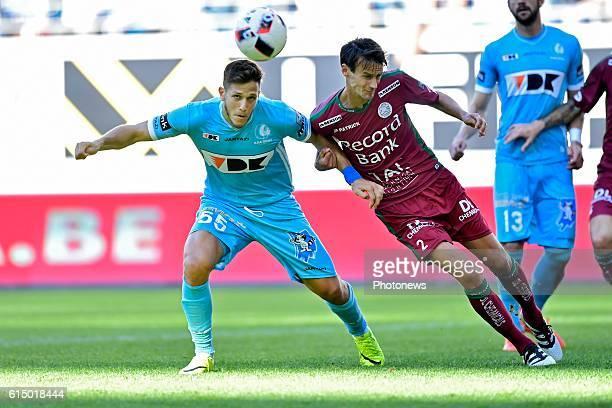 Rami Gershon defender of KAA Gent is fighting for the ball with Davy De Fauw defender of SV Zulte Waregemduring the Jupiler Pro League match between...