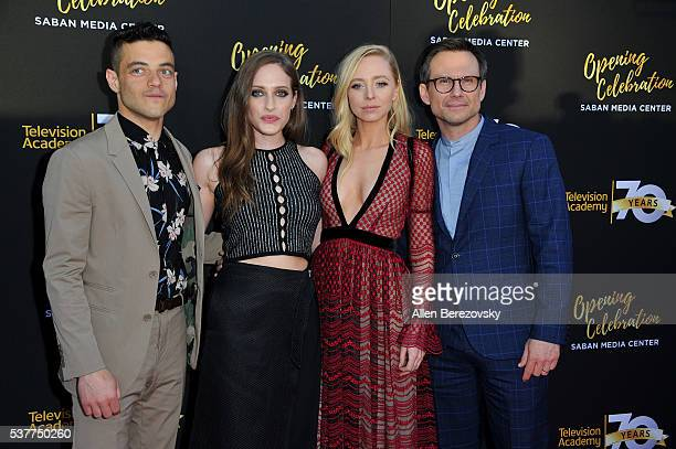 Rami Malek Carly Chaikin Portia Doubleday and Christian Slater attend the Television Academy's 70th Anniversary Gala on June 2 2016 in Los Angeles...