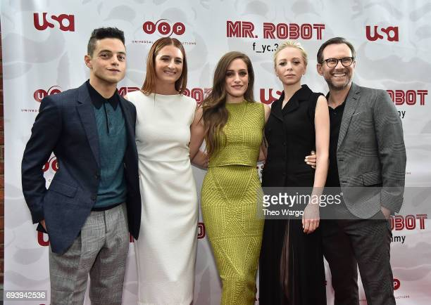 Rami Malek Grace Gummer Carly Chaikin Portia Doubleday and Christian Slater attend a 'Mr Robot' FYC Screening at The Metrograph on June 8 2017 in New...