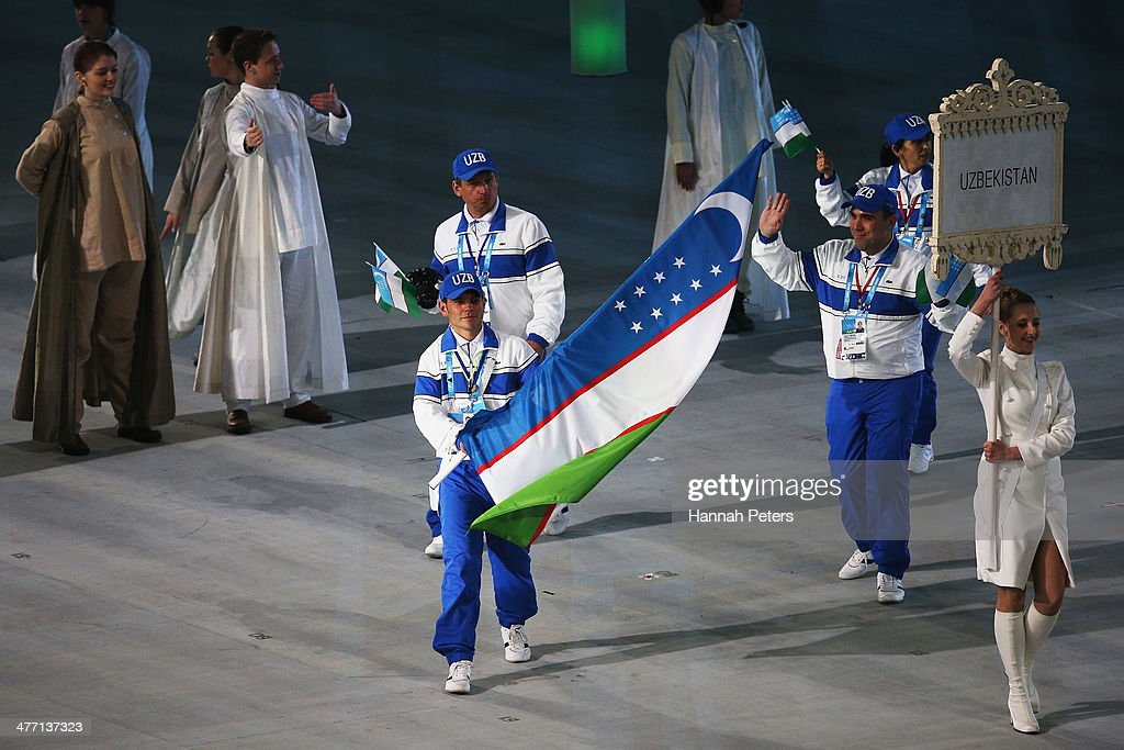 Ramil Gayazov of Uzbekistan carries the flag during the Opening Ceremony of the Sochi 2014 Paralympic Winter Games at Fisht Olympic Stadium on March 7, 2014 in Sochi, Russia.