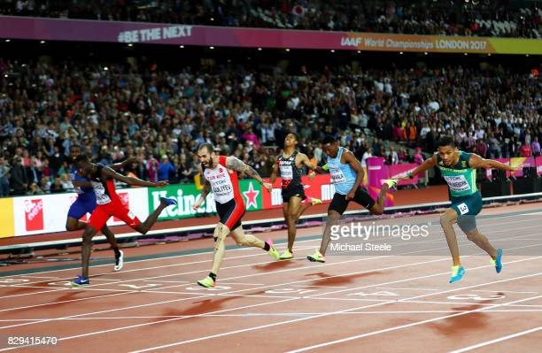 Ramil Guliyev of Turkey crosses the line to win the mens 200 metres final during day seven of the 16th IAAF World Athletics Championships London 2017...