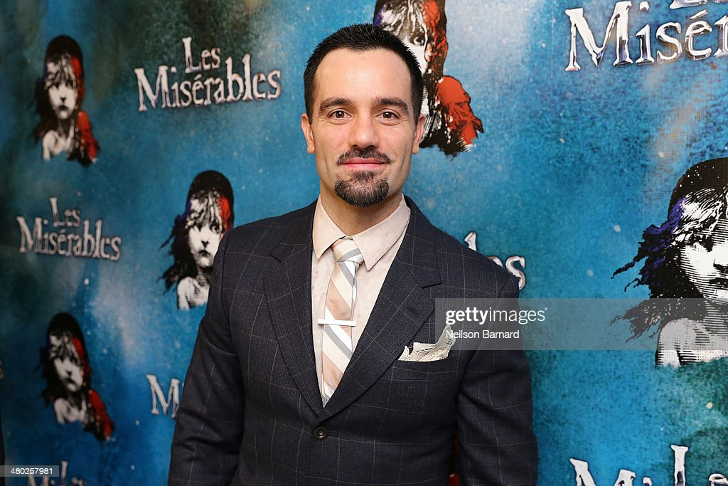 <a gi-track='captionPersonalityLinkClicked' href=/galleries/search?phrase=Ramin+Karimloo&family=editorial&specificpeople=5821830 ng-click='$event.stopPropagation()'>Ramin Karimloo</a> attends the opening night of Cameron Mackintosh's new production of Boublil and Schonberg's 'Les Miserables' on Broadway at The Imperial Theatre on March 23, 2014 in New York City.