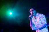 Ramin Karimloo the lead man in Les Miserables performing tracks from his forthcoming debut album 'Ramin' at Cafe de Paris on January 24 2012 in...