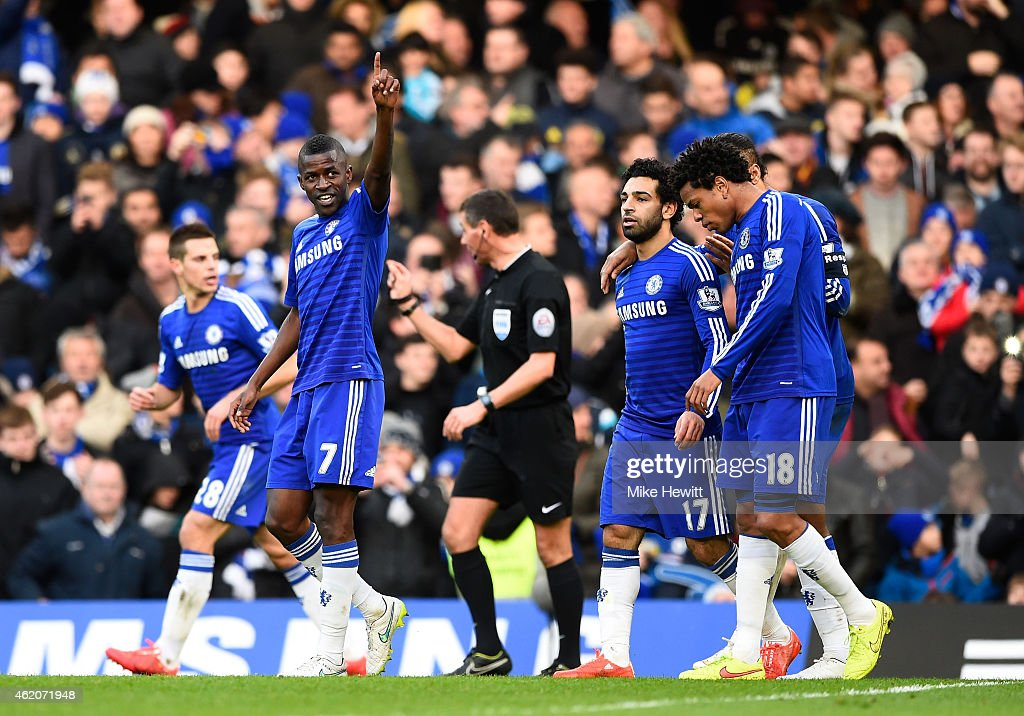 Ramires #7 of Chelsea celebrates after scoring his team's second goal during the FA Cup Fourth Round match between Chelsea and Bradford City at Stamford Bridge on January 24, 2015 in London, England.