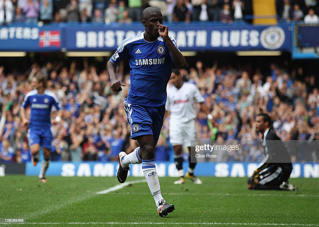 Ramires of Chelsea celebrates as he scores their second goal during the Barclays Premier League match between Chelsea and Swansea City at Stamford Bridge on September 24, 2011 in London, England.